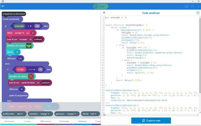 Sphero Edu Chrome comparaison code soft et code hard