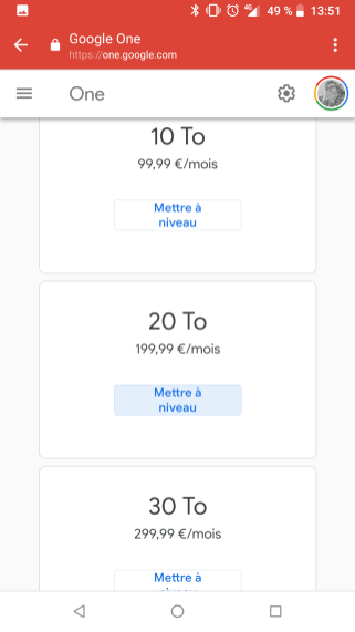 Google One tarif en France (1)