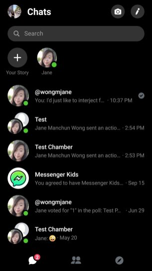 Facebook Messenger dark ui 1