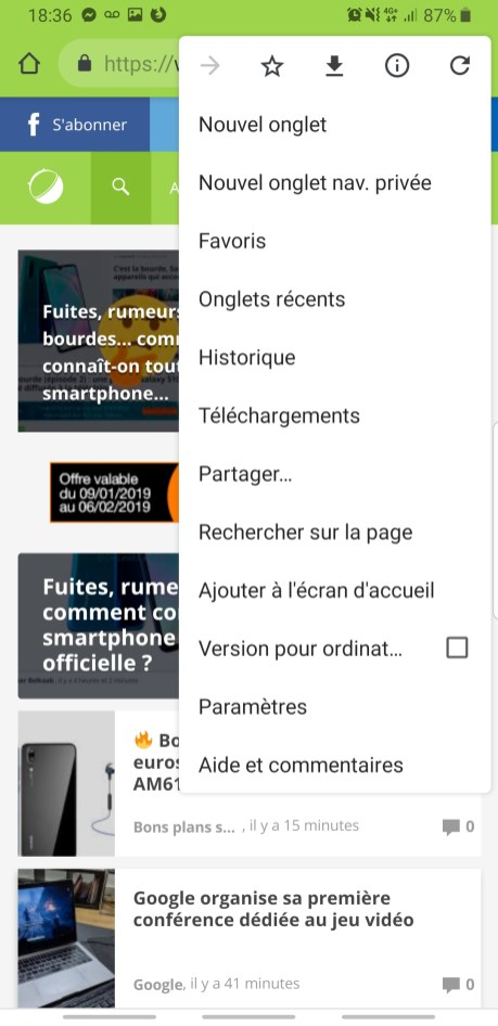 Chrome navigation privée smartphone