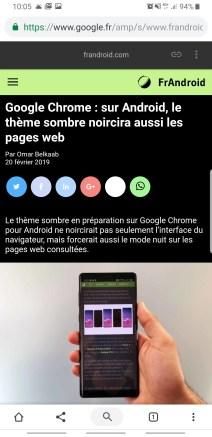 Chrome thème sombre Android