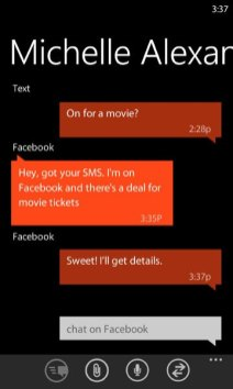 Windows Phone 8.1 hub messages