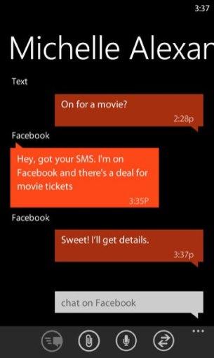 Windows Phone 8.1 hub messages