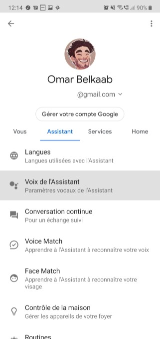 Google Assistant voix