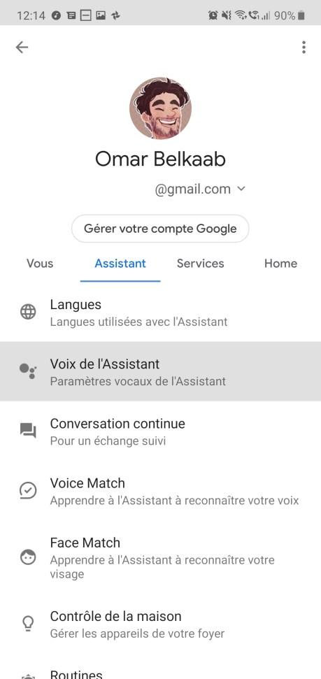 Google Assistant voix