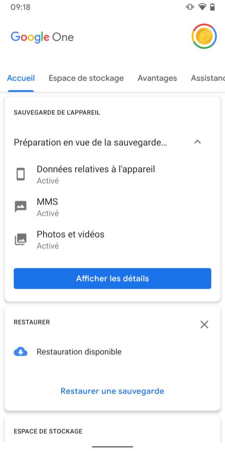 Google One sauvegarde (2)