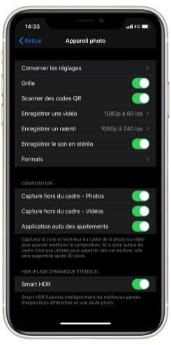 iPhone 11 Camera UI parametres (1)