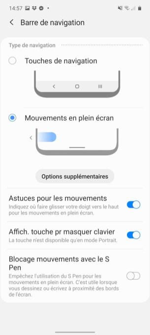 La navigation sur le Samsung Galaxy Note 10 Lite