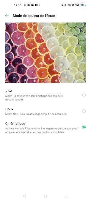 Les modes d'affichage possible sur l'Oppo Find X2 Pro