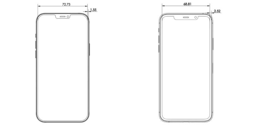 L'avant de l'iPhone 12 Pro comparé à l'iPhone 11 Pro