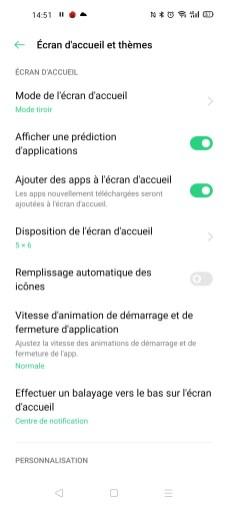 Les paramètres d'écran d'accueil de l'Oppo Find X2 Neo