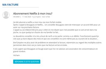 Plainte d'un client Bouygues pour un abonnement Netflix non voulu