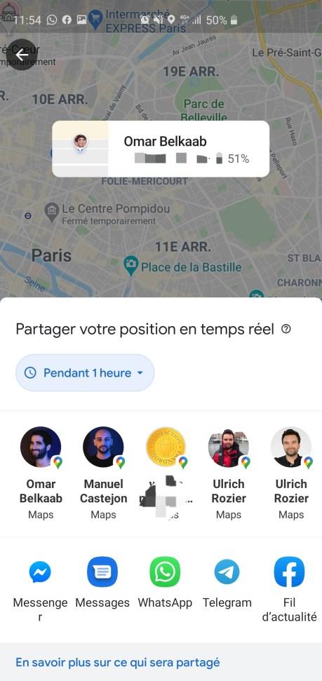 Contacts avec qui partager sa position sur Google Maps