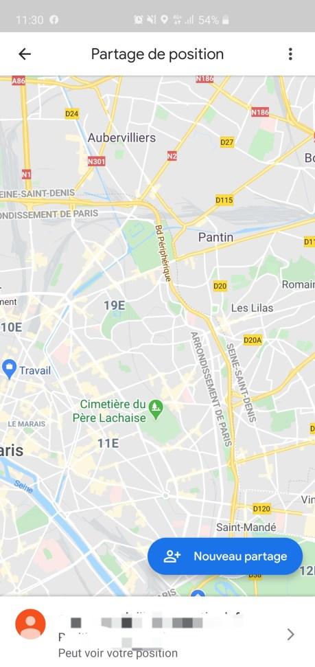Partage de position sur Google Maps