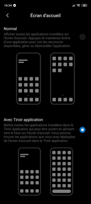 Activation tiroir d'applications sur le Xiaomi Redmi Note 9 Pro