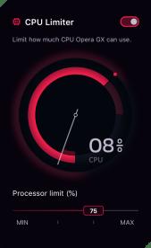 La limitation du CPU dans Opera GX // Source : Opera