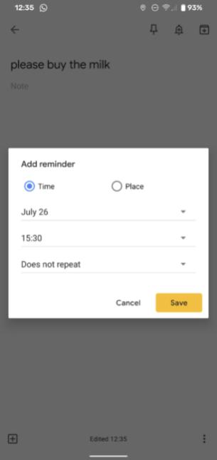 Rappel programmé sur Google Keep