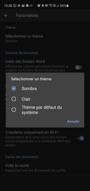 Activation du mode sombre sur Google Docs