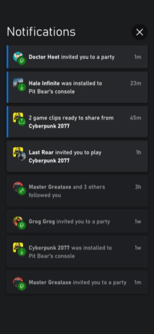 Les notifications sur la future appli mobile Xbox