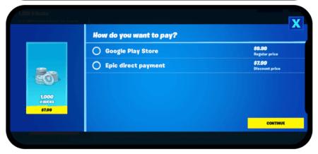 Paiement Fortnite sur Android