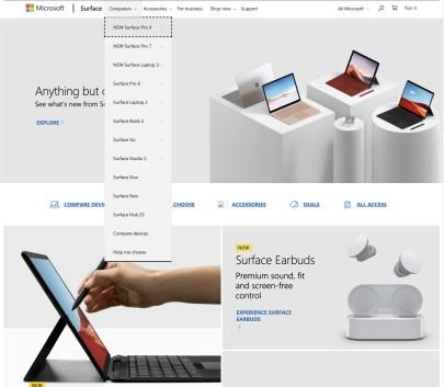 La page de Microsoft annonçant les nouveaux produits après l'événement d'octobre 2019
