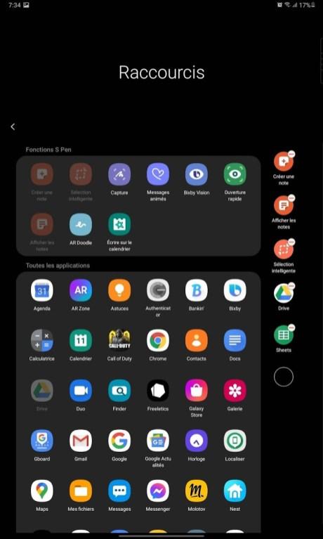 Samsung Galaxy Tab S6 Lite - Gestion raccourcis
