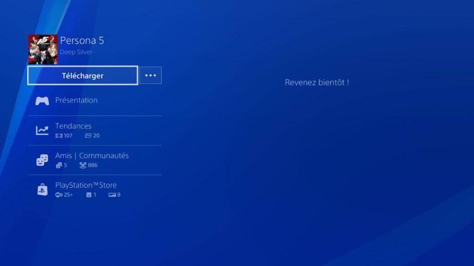 Le téléchargement de Persona 5 sur PS4