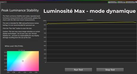 La luminosité max sous le mode dynamique - mire à 10%