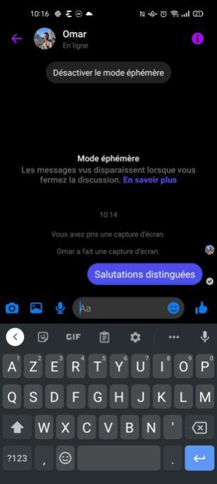 Messenger mode éphémère (4)