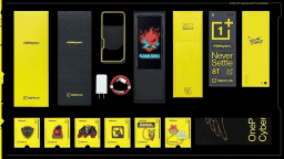 Le kit OnePlus 8T Cyberpunk 2077 Edition // Source : OnePlus