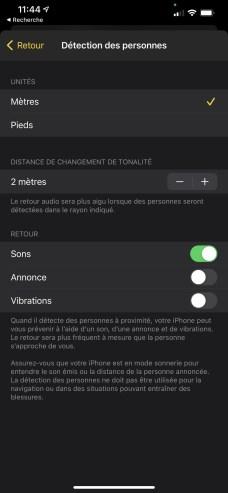 Les paramètres pour la détection de personne sur iPhone 12 Pro