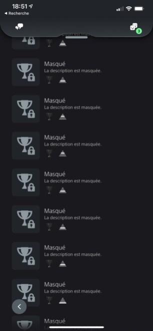 La liste des trophées masqués d'un jeu sur la PS App