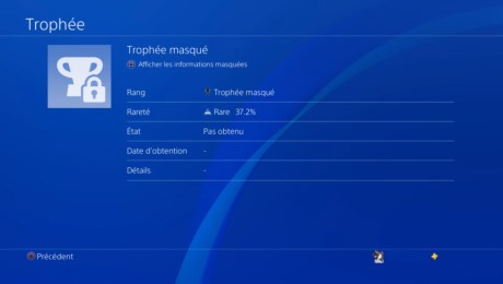Playstation trophees masques PS4