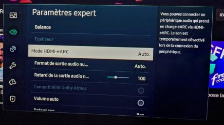 Quelques options de réglages sont disponibles pour l'audio