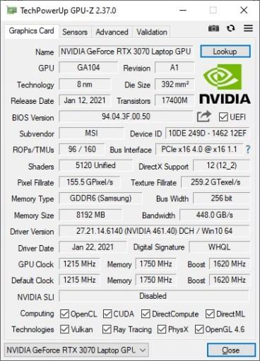 GPU-Z - MSI GE76 Raider