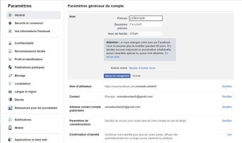 Comment changer son nom sur Facebook de son navigateur Internet 04