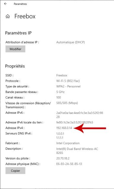 Comment connaitre son adresse IP sur un PC Windows 10 03