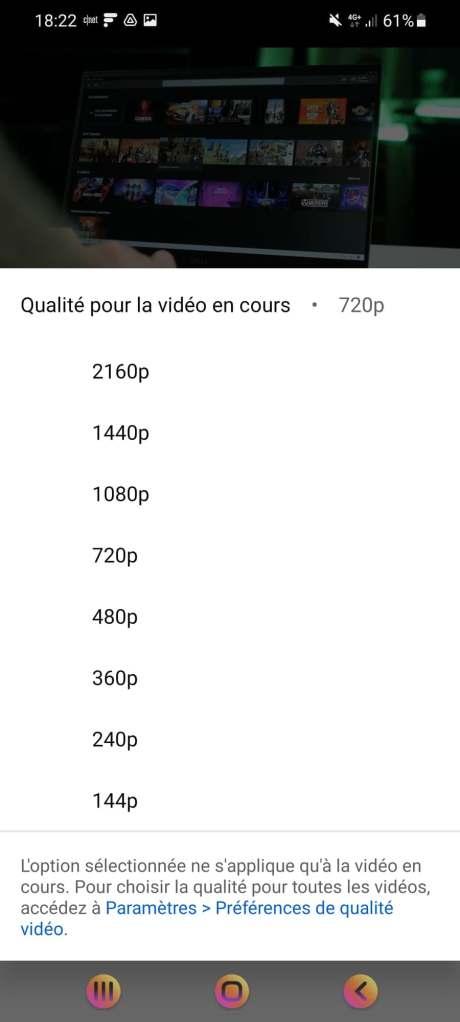 L'application Youtube ajoute de nouveaux contrôles pour la qualité des vidéos. // Source : Frandroid