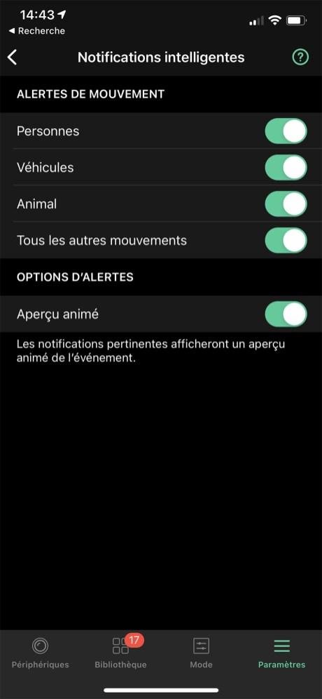 Régler les notification sur l'app Arlo // Source : Frandroid / Yazid Amer