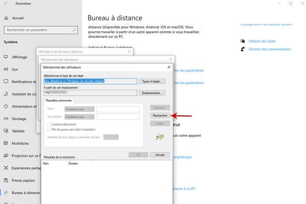 Autoriser la prise de contrôle à distance d'un PC sous Windows 10 008