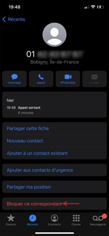 Comment bloquer un numéro de téléphone indésirable sur iPhone 03