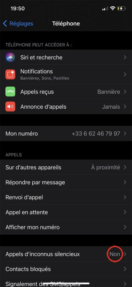 Comment mettre en sileniceux les numéros inconnus ou privés sur iPhone 04