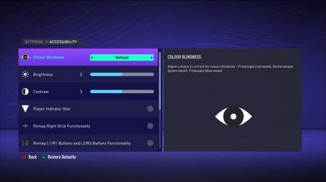 Les réglages d'accessibilité sur FIFA 21