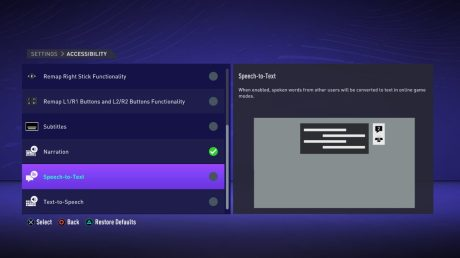 Les réglages d'accessibilité sur FIFA 21 // Source : EA Accessibility