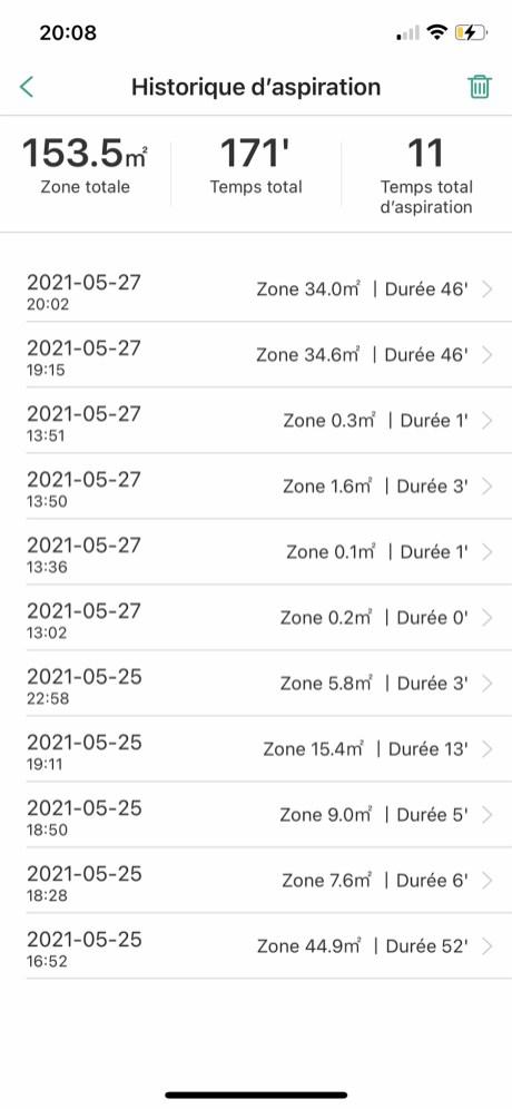 Chaque cycle d'aspiration est enregistré, carte incluse // Source : Frandroid / Yazid Amer