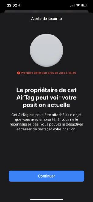 Message lorsqu'un AirTag ne vous appartenant pas est détecté