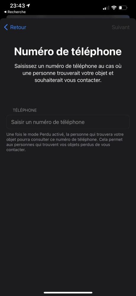 En cas de perte de votre AirTag, un message apparaîtra sur le smartphone de la personne qui le trouve // Source : FRANDROID