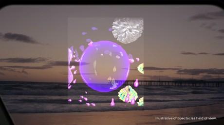 Exemple de contenus en réalité augmentée avec les Spectacles // Source : Snap