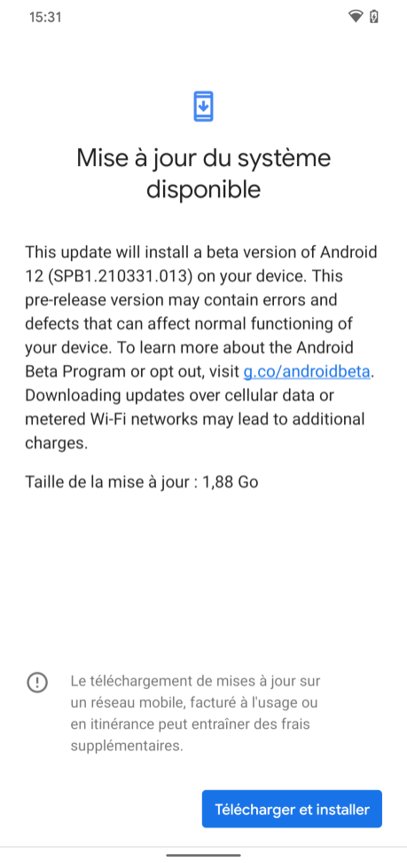 Install Android 12 beta 1 // Source: Frandroid