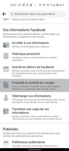 Supprimer compte Facebook smartphone app 2